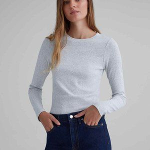 Club Monaco Gray Carolena Ribbed Long Sleeve Tee